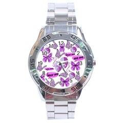Invisible Illness Collage Stainless Steel Watch by FunWithFibro