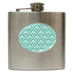 White On Emerald Green Damask Hip Flask