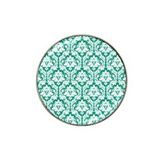 White On Emerald Green Damask Golf Ball Marker (for Hat Clip) by Zandiepants