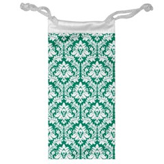 White On Emerald Green Damask Jewelry Bag by Zandiepants