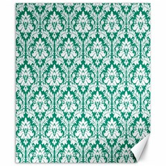 White On Emerald Green Damask Canvas 8  X 10  (unframed) by Zandiepants