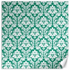 White On Emerald Green Damask Canvas 16  X 16  (unframed) by Zandiepants
