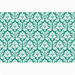 White On Emerald Green Damask Canvas 20  X 30  (unframed) by Zandiepants