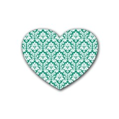 White On Emerald Green Damask Drink Coasters (heart) by Zandiepants