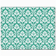White On Emerald Green Damask Canvas 11  X 14  (unframed) by Zandiepants