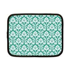 White On Emerald Green Damask Netbook Sleeve (small)