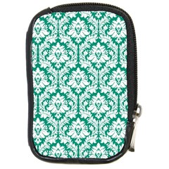 White On Emerald Green Damask Compact Camera Leather Case by Zandiepants
