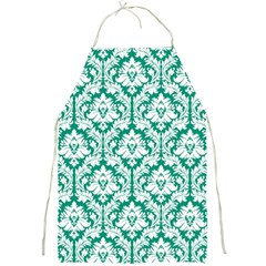 Emerald Green Damask Pattern Full Print Apron by Zandiepants