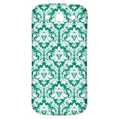White On Emerald Green Damask Samsung Galaxy S3 S Iii Classic Hardshell Back Case by Zandiepants