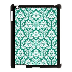 White On Emerald Green Damask Apple Ipad 3/4 Case (black) by Zandiepants