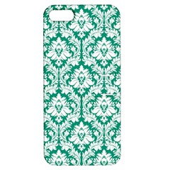 White On Emerald Green Damask Apple Iphone 5 Hardshell Case With Stand by Zandiepants