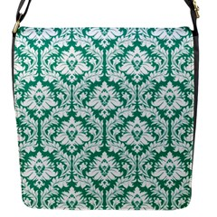 Emerald Green Damask Pattern Flap Closure Messenger Bag (s) by Zandiepants