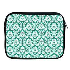 White On Emerald Green Damask Apple Ipad Zippered Sleeve