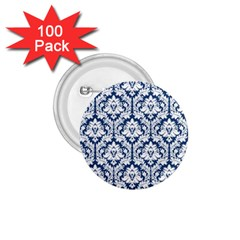 White On Blue Damask 1 75  Button (100 Pack) by Zandiepants