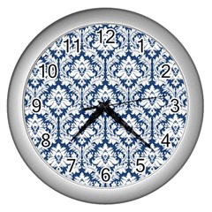 White On Blue Damask Wall Clock (silver)