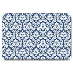 White On Blue Damask Large Door Mat by Zandiepants