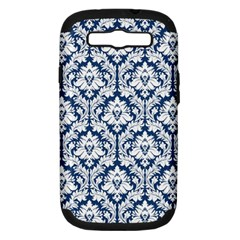 White On Blue Damask Samsung Galaxy S Iii Hardshell Case (pc+silicone) by Zandiepants