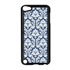 White On Blue Damask Apple Ipod Touch 5 Case (black) by Zandiepants