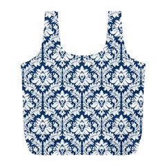 Navy Blue Damask Pattern Full Print Recycle Bag (l)
