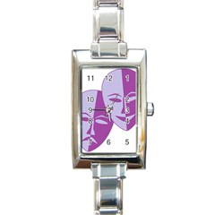 Comedy & Tragedy Of Chronic Pain Rectangular Italian Charm Watch by FunWithFibro