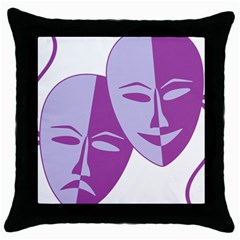Comedy & Tragedy Of Chronic Pain Black Throw Pillow Case by FunWithFibro