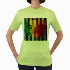 Conundrum I, Abstract Rainbow Woman Goddess  Women s T Shirt (green) by DianeClancy