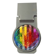 Conundrum I, Abstract Rainbow Woman Goddess  Money Clip (round) by DianeClancy