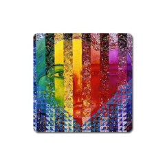 Conundrum I, Abstract Rainbow Woman Goddess  Magnet (square) by DianeClancy