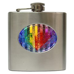 Conundrum I, Abstract Rainbow Woman Goddess  Hip Flask by DianeClancy