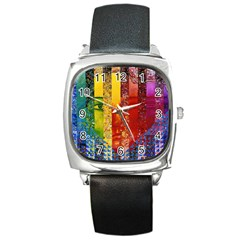 Conundrum I, Abstract Rainbow Woman Goddess  Square Leather Watch by DianeClancy