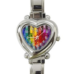 Conundrum I, Abstract Rainbow Woman Goddess  Heart Italian Charm Watch  by DianeClancy
