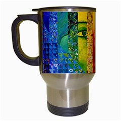 Conundrum I, Abstract Rainbow Woman Goddess  Travel Mug (white) by DianeClancy