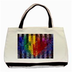 Conundrum I, Abstract Rainbow Woman Goddess  Twin Sided Black Tote Bag by DianeClancy