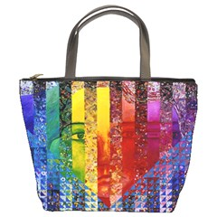 Conundrum I, Abstract Rainbow Woman Goddess  Bucket Handbag by DianeClancy
