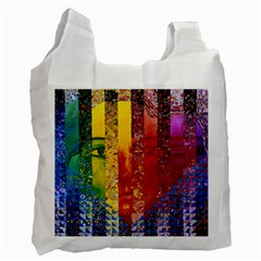 Conundrum I, Abstract Rainbow Woman Goddess  White Reusable Bag (two Sides) by DianeClancy