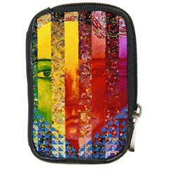 Conundrum I, Abstract Rainbow Woman Goddess  Compact Camera Leather Case by DianeClancy
