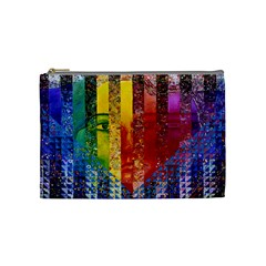 Conundrum I, Abstract Rainbow Woman Goddess  Cosmetic Bag (medium) by DianeClancy