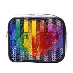 Conundrum I, Abstract Rainbow Woman Goddess  Mini Travel Toiletry Bag (one Side) by DianeClancy