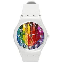 Conundrum I, Abstract Rainbow Woman Goddess  Plastic Sport Watch (medium) by DianeClancy