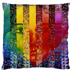Conundrum I, Abstract Rainbow Woman Goddess  Large Cushion Case (two Sided)  by DianeClancy
