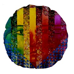 Conundrum I, Abstract Rainbow Woman Goddess  18  Premium Round Cushion  by DianeClancy