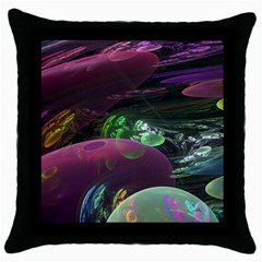 Creation Of The Rainbow Galaxy, Abstract Black Throw Pillow Case by DianeClancy