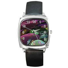 Creation Of The Rainbow Galaxy, Abstract Square Leather Watch by DianeClancy