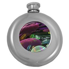 Creation Of The Rainbow Galaxy, Abstract Hip Flask (round) by DianeClancy
