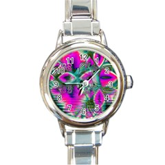 Crystal Flower Garden, Abstract Teal Violet Round Italian Charm Watch by DianeClancy