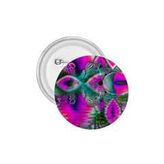 Crystal Flower Garden, Abstract Teal Violet 1 75  Button