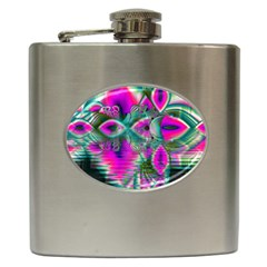 Crystal Flower Garden, Abstract Teal Violet Hip Flask by DianeClancy
