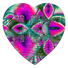 Crystal Flower Garden, Abstract Teal Violet Jigsaw Puzzle (heart) by DianeClancy