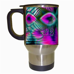 Crystal Flower Garden, Abstract Teal Violet Travel Mug (white) by DianeClancy