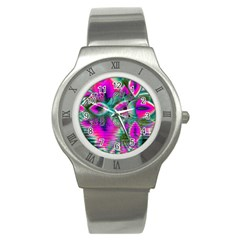 Crystal Flower Garden, Abstract Teal Violet Stainless Steel Watch (slim) by DianeClancy